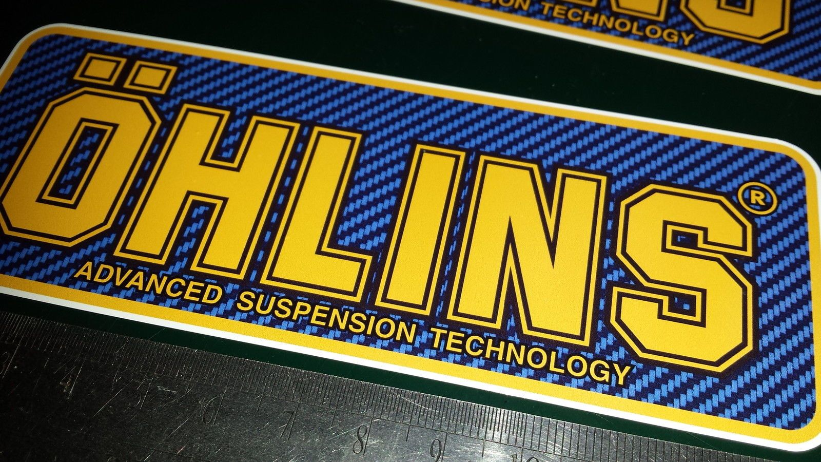 2x Ohlins Full Colour Decals Stickers Blue Carbon